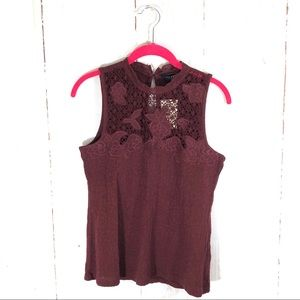 NWT Lucky Brand Maroon Floral Mock Neck Tank